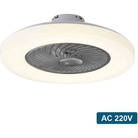 Ventilateur De Plafond Couleur Cafe Ac 220V, Gradation Tricolore, Force Du Vent A Trois Vitesses, Telecommande Intelligente