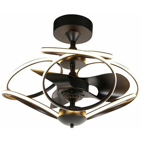 Ventilateur de plafond Design noir avec télécommande avec LED - Kauv Qazqa Design Luminaire interieur Rond