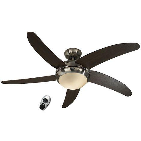 Ventilateur de plafond, design silencieux 132 Cm chrome brossé pales Vengé avec lampe CASAFAN Elica BN-AH
