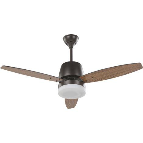 Ventilateur de plafond effet bois foncé avec lampe blanche MLAVA