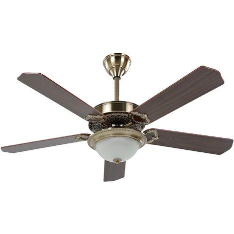 """main image of """"Ventilateur de plafond effet bois foncé et doré avec lampe BEGEJ"""""""