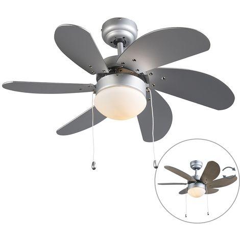 Ventilateur de plafond gris - Fresh 3 Qazqa Moderne Luminaire interieur Rond
