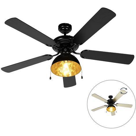 Ventilateur de plafond Industriel / Vintage noir - Magna Qazqa Industriel / Vintage Luminaire interieur Rond