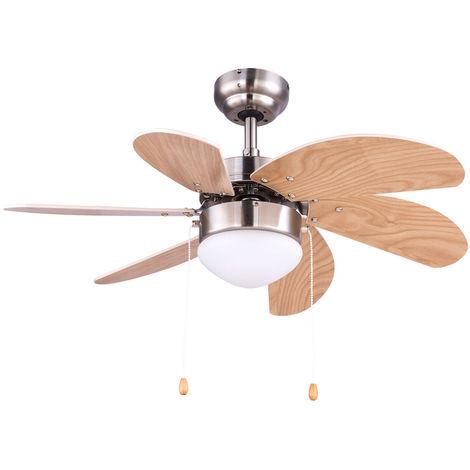 Ventilateur de plafond interrupteur à tirer lampe radiateur chauffage verre léger hêtre éolienne 78 cm Globo 03301