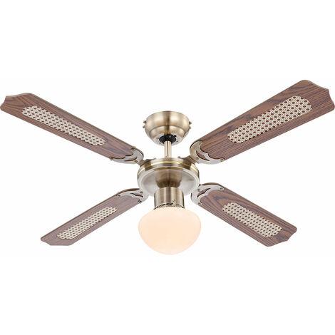 Ventilateur de plafond interrupteur Á tirette luminaire éclairage rafraîchir chauffer Globo Champions 0309 / 034009
