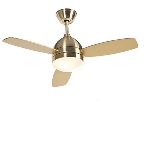 Ventilateur de plafond laiton 2 lumières avec télécommande - Rotar Qazqa Moderne Luminaire interieur Rond