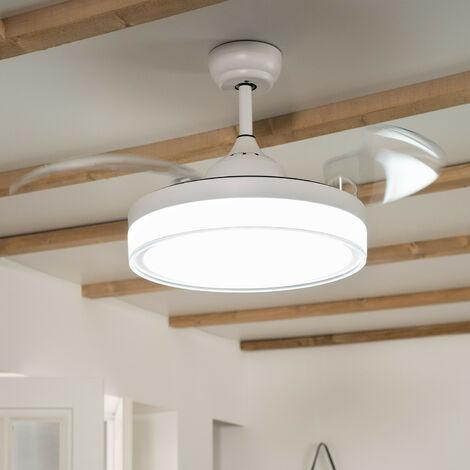 Ventilateur de Plafond LED Caicos Blanc 106cm Moteur DC - Blanc