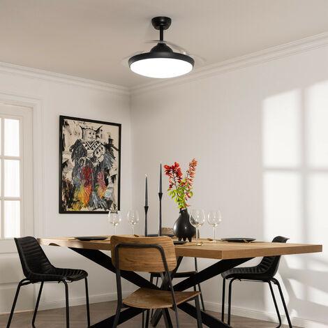 Ventilateur de Plafond LED Kourak Noir 106cm Moteur DC - Noir