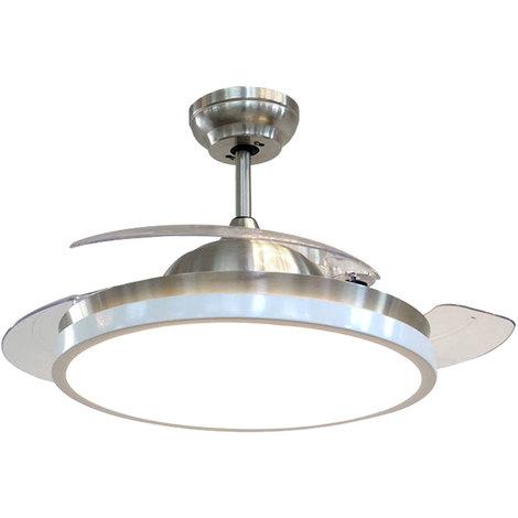 """main image of """"Ventilateur de plafond LED pales pliable lumière du jour TÉLÉCOMMANDE minuterie lampe argent blanc"""""""