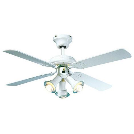 Ventilateur de plafond MALDIVES D. 107 cm 4 pales laquées blanche 3 spots laqué blanc 50 W 230 V - 112615 - Fartools - -