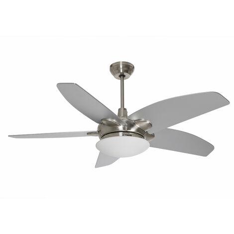 Ventilateur de plafond moteur chrome pales Chêne / Argent avec lumiere led