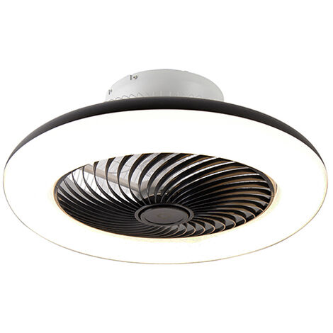 Ventilateur de plafond noir avec LED avec télécommande - Clima Qazqa Design Luminaire interieur Rond