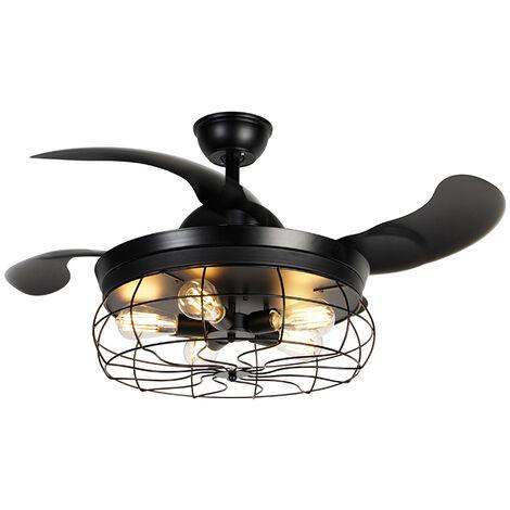 Ventilateur de plafond noir avec télécommande 5 lumières - Gaiola Qazqa Industriel / Vintage Luminaire interieur Rond