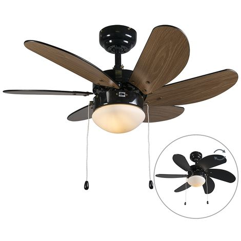 Ventilateur de plafond noir - Fresh 3 Qazqa Moderne Luminaire interieur Rond