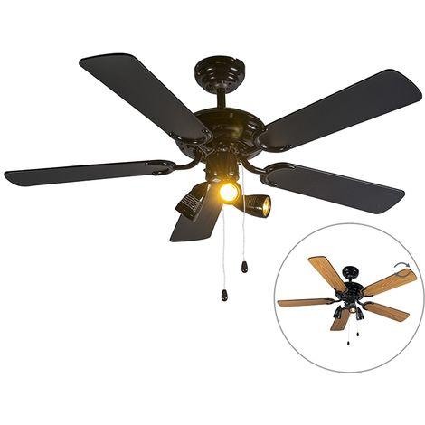 Ventilateur de plafond noir - Mistral 42 Qazqa Moderne Luminaire interieur Rond
