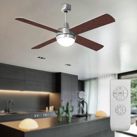 Ventilateur de plafond plus silencieux télécommande verre lumière 3 niveaux pales de lampe de ventilateur inversé réversible noyer hêtre