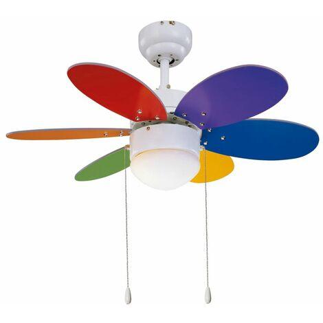Ventilateur de Plafond RAINBOW 76cm Blanc Multicolor - SULION - 75165