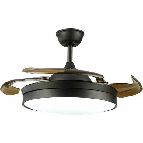 """Ventilateur de plafond rétro - 42"""" LED - Avec éclairage et télécommande - 56 W - Super silencieux - 3 températures de couleur et 3 vitesses de vent - 4 pales pour le salon"""