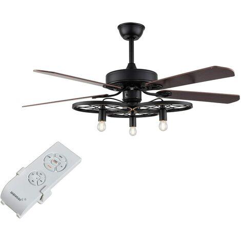 """Ventilateur de plafond rétro de 52"""" avec éclairage et télécommande - Plafonnier - Ventilateur 2 en 1 - Lampe escamotable à 3 vitesses"""