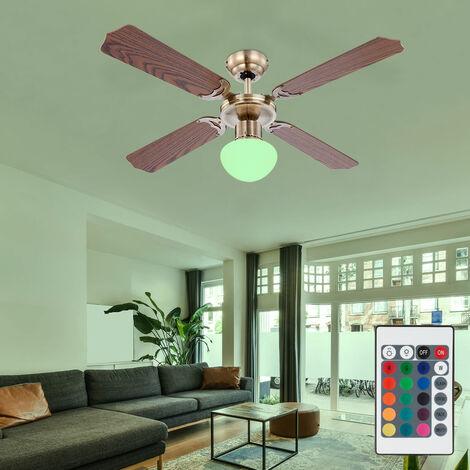 Ventilateur de plafond rétro interrupteur à tirette à changement de couleur refroidisseur de pièce dans un ensemble comprenant une source de lumière LED RVB