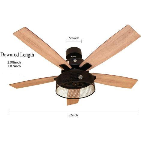 """Ventilateur de plafond rétro - Lumière moderne - Avec télécommande - Réversible - Lames en bois - Fan de 5 à 52"""""""