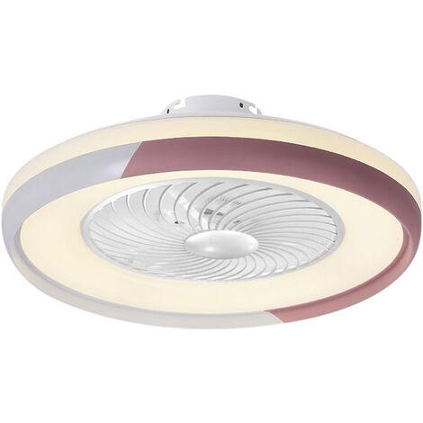 Ventilateur De Plafond Rose Ac 220V, Gradation Tricolore, Vent A Trois Vitesses Avec Fonction De Guidage Du Vent, Telecommande Intelligente