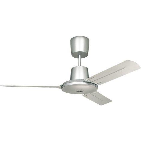 Ventilateur de plafond TROPICAL - Ø hélice 1420 mm - laque gris clair / laque blanche - Coloris du boîtier: laqué blanc