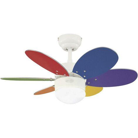 Ventilateur de plafond Westinghouse Turbo II 6 pales (Ø) 76 cm multicolore, blanc, érable