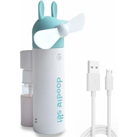 Ventilateur de Poche brumisateur Ventilateur, Mini USB Personnel Portable Rechargeable à Piles Ventilateur pour Le Bureau/Les Voyages/à l'extérieur (Lapin Vert)