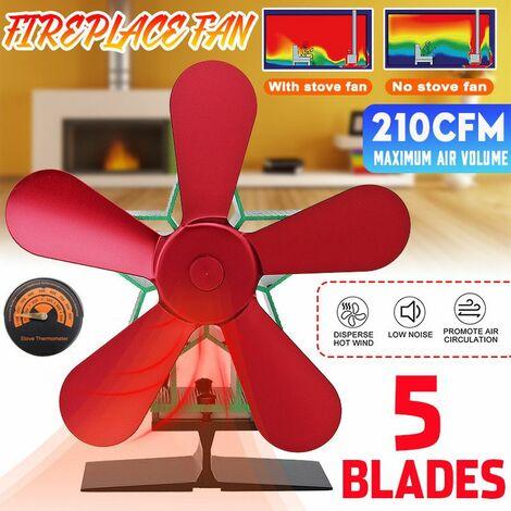 Ventilateur de poêle silencieux à 5 lames, cheminée à économie d'énergie, ventilateur écologique, joyeux Noël pour la combustion du bois Noël