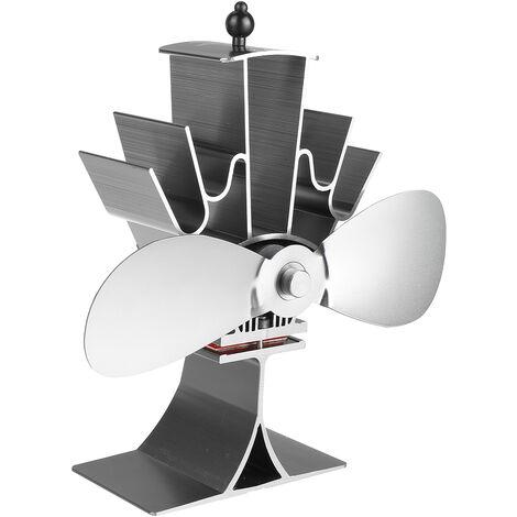 Ventilateur de poêle à bois à 2 lames Br?leur à b?ches Cheminée à économie de chaleur Ventilateur Eco silencieux (gris)
