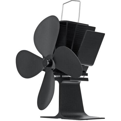 Ventilateur de poêle à bois à 4 lames + thermomètre magnétique noir