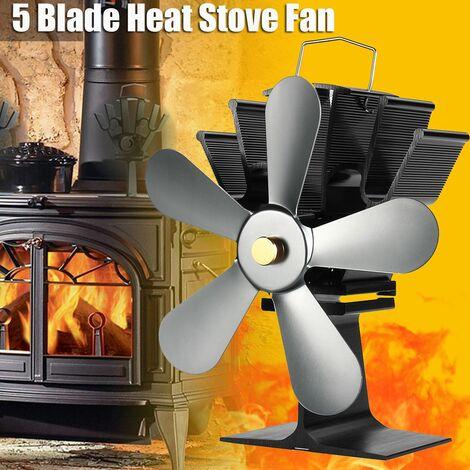 Ventilateur de poêle à bois auto-alimenté à 5 lames, br?leur à b?ches supérieur, ventilateurs silencieux, hiver chaud (argent)