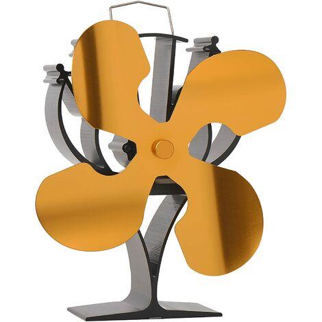 Ventilateur de poêle à bois avec 4 lames pour poêle à bois/poêle à bûche/cheminée – Respectueux de l'environnement (doré)