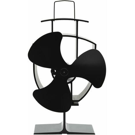 Ventilateur de poêle alimenté par chaleur 3 pales Noir