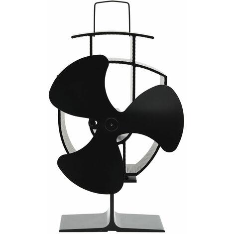Ventilateur de poele alimente par chaleur 3 pales Noir