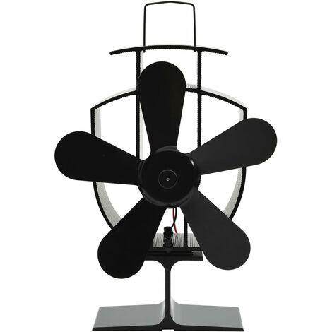Ventilateur de poêle alimenté par chaleur 5 pales Noir
