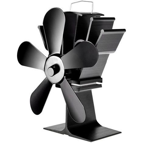 Ventilateur de Poele avec 5 Lames Cheminee Supérieure De Bruleur De Rondin
