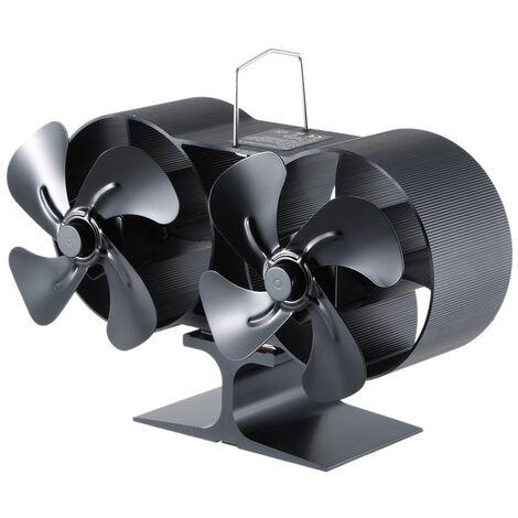 Ventilateur De Poele Noir A 4 Pales A Deux Tetes Ventilateur A Chaleur Pour Cheminee Convient Pour Cheminee A Bois Massif / A Buches Ventilateur De Protection De L'Environnement