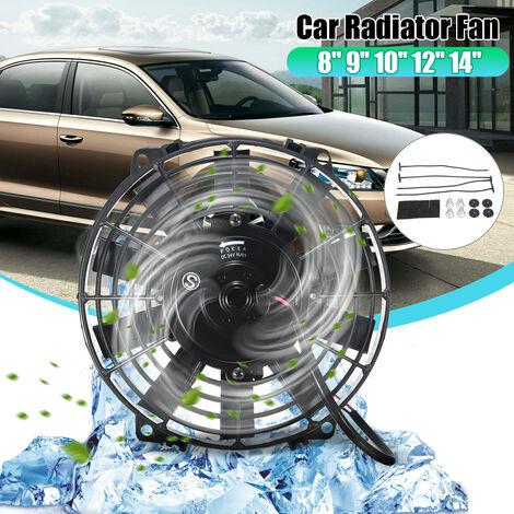 """Ventilateur de radiateur de refroidissement électrique à lame mince universelle 2100 tr / min 12V 80w avec attaches de cables / kits de montage (9 """")"""