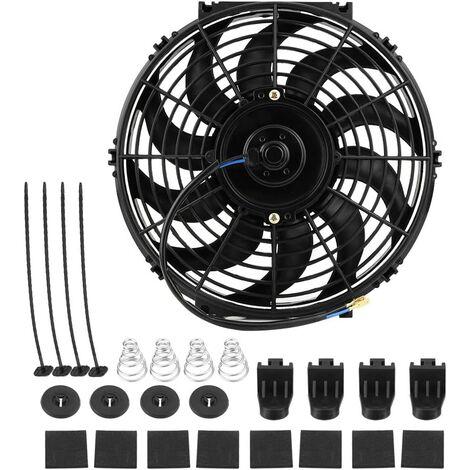 Ventilateur de refroidissement, 12 V, 80 W, moteur de radiateur électrique, universel, avec 10 pales courbes, pour voitures, camping, voitures, avec kit de montage