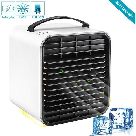 Ventilateur de refroidisseur de climatiseur portable, refroidisseur d'air pour espace personnel, humidificateur, refroidisseur par évaporation, mini ventilateur de bureau de refroidissement rechargeable par USB avec lumière LED, 3 vitesses
