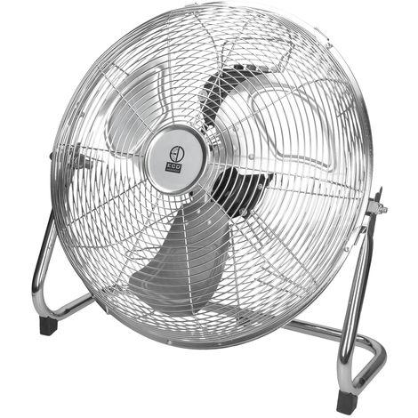 """Ventilateur de sol industriel argent chromé pivotante 3 vitesses 360° 14"""" 65W"""