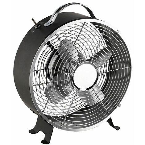 ventilateur de table vintage 25w 25cm 2 vitesses noir - dom348n - livoo