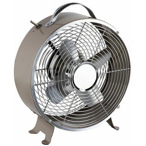 ventilateur de table vintage 25w 25cm 2 vitesses taupe - dom348t - livoo