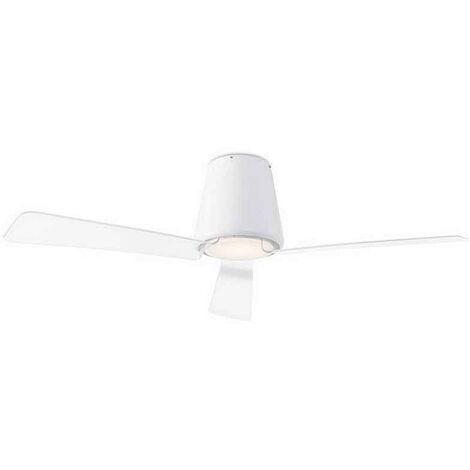 Ventilateur extérieur avec led intégrée 132cm modèle GARBI WHITE, lames transparentes et moteur DC.