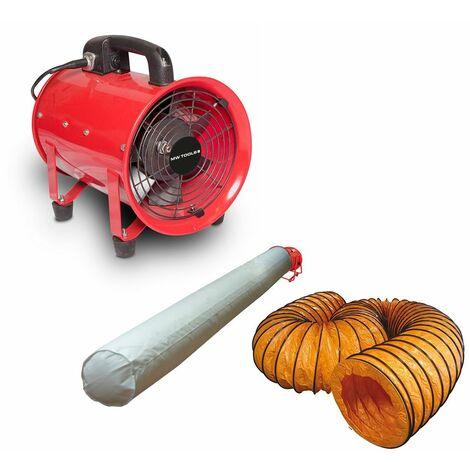 Ventilateur extracteur 200 mm - 250 W avec tuyau et sac filtrant MW-Tools MV200SET