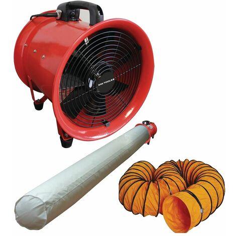 Ventilateur extracteur 300 mm - 500 W avec tuyau et sac filtrant MW-Tools MV300SET