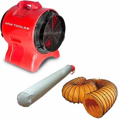 Ventilateur extracteur 300 mm - 750 W avec tuyau et sac filtrant MW-Tools MV300PPSET
