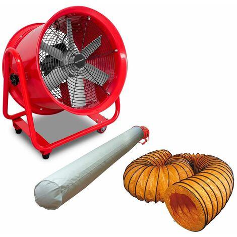 Ventilateur extracteur 400 mm - 550W 380V avec tuyau et sac filtrant MW-Tools MV400R3SET